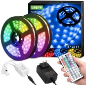50ft RGB LED Strip Lights with Remote Controller, Ultra-Long 5050 LED Light Strips, Color Changing LED Tape Light with 12V ETL Listed Adapter for Living Room, Bedroom, Dining Room, Kitchen