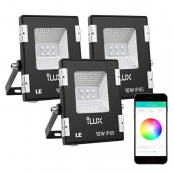 LE iLUX Smart LED Flood Lights, Outdoor Plug in, 10W RGB, IP65 Waterproof, Bluetooth Remote Control for iOS and Android, Color Changing with Music, Floodlights for Home, Garden, Balcony, Pack of 3