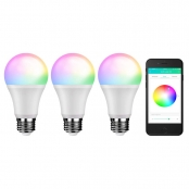 LE iLUX Bluetooth Mesh Smart Light Bulbs, RGBW and White Light, No Hub Required, Voice/Music Sync, Color Changing, Dimmable, E26 LED Bulbs, Programmable APP alternative to DMX512 System, Pack of 3
