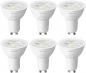 Lepro GU10 LED Light Bulbs, 50W Equivalent, Dimmable 40° Spot Light, 5000K Daylight White Natural Light, 5.5W 400lm, LED Replacement for Recessed Track Lighting, Pack of 6