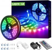 Lepro LED Strip Lights, 16.4ft RGB LED Lights Strip with 44 Keys IR Remote and 12V Power Supply, Flexible Color Changing 5050 300 LEDs Light Strips Kit for Bedroom, Home, Kitchen(16.4FT)