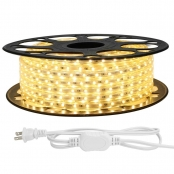LE 49ft LED Strip Lights, 120 Volt, 70W 900 SMD 3528 LEDs, Waterproof, Flexible, Warm White, ETL Listed, Indoor Outdoor LED Rope Light for Kitchen, Ceiling, Patio, Under Cabinet Lighting and More