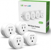 Smart Plug, LE LampUX Smart Socket, Works with Alexa & Google Assistant, Mini Wifi Outlet, Remote Control Your Appliances with App and Voice Command, No Hub Required, 2.4GHz Wifi Only(Pack of 4)