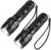 LE Portable Handheld LED Flashlight with Adjustable Focus and 5 Light Modes, Outdoor Water Resistant Torch, Tactical Flashlight for Camping, Hiking, Emergency, Pack of 2