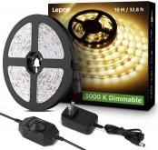 Lepro LED Strip Light, 32.8ft Dimmable Vanity Lights, 6000K Super Bright LED Tape Lights, 600 LEDs SMD 2835, Strong 3M Adhesive, Suitable for Home, Kitchen, Under Cabinet, Bedroom, Warm White