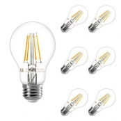 LE Vintage Edison Bulb, Dimmable, A19 E26, 40W Incandescent Equivalent, Soft Warm, LED Filament Light Bulb for Wall Sconces, Squirrel Cage Light, Pendant Island Ceiling Chandelier Fixture, Pack of 6