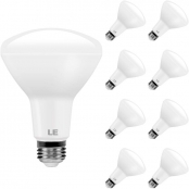 LE BR30 E26 LED Flood Light Bulbs, 10.5W 850 Lumens, Dimmable, 65 Watt Incandescent Equivalent, 2700K Warm White, 110° Wide Beam Angle, for Kitchens, Living Rooms, Bedrooms and More, Pack of 8