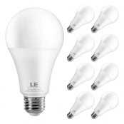 LE A21 LED Light Bulb, Replacement for 100W Incandescent Bulb, 13 Watt 1200 Lumens, High Output, 2700K Soft Warm White, E26 Medium Base, Frosted, Big Type A Bulbs, Pack of 8, Non Dimmable