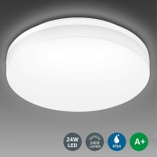 LE Flush Mount Ceiling Light Fixture, Waterproof IP54 13 Inch LED Ceiling Lights, 24W (2x100W Equivalent) 2400lm Non Dimmable Ceiling Lamp for Bathroom, Kitchen, Bedroom, Porch, Living Room, Hallway