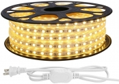LE 65ft LED Strip Lights, 120 Volt, 150W 1200 SMD 5050 LEDs, Waterproof, Flexible, Warm White, ETL Listed, Indoor Outdoor LED Rope Light for Kitchen, Ceiling, Patio, Under Cabinet Lighting and More