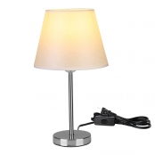 Fabric Shade E26 Bulb Base Bedside Table Lamp for Bedroom Living Room Decoration