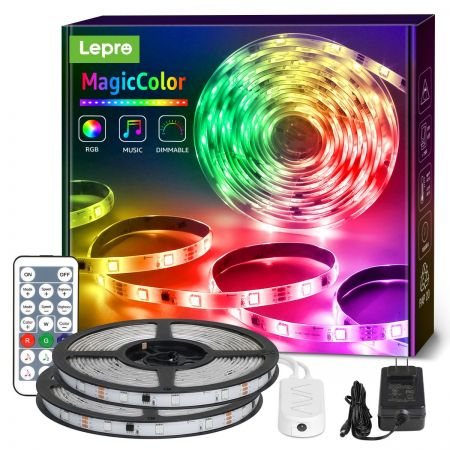 Lepro 32 8ft Magiccolor Music Sync Led Strip Lights Waterproof Rgbic Light Strip With Remote For Bedroom Tv Gaming Room Party Balcony