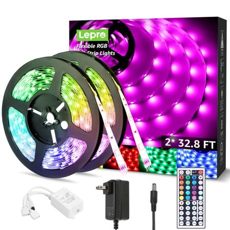 65 6ft Led Strip Lights Ultra Long Rgb 5050 Led Strips With Remote Controller Color Changing Tape Light For Bedroom Room Kitchen Bar