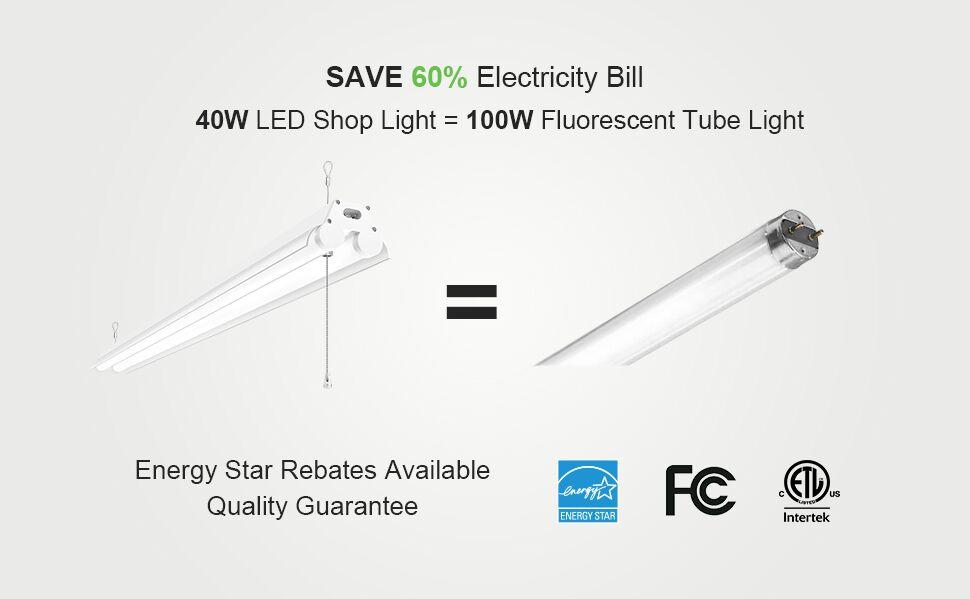 4 pack 40w led shop lights