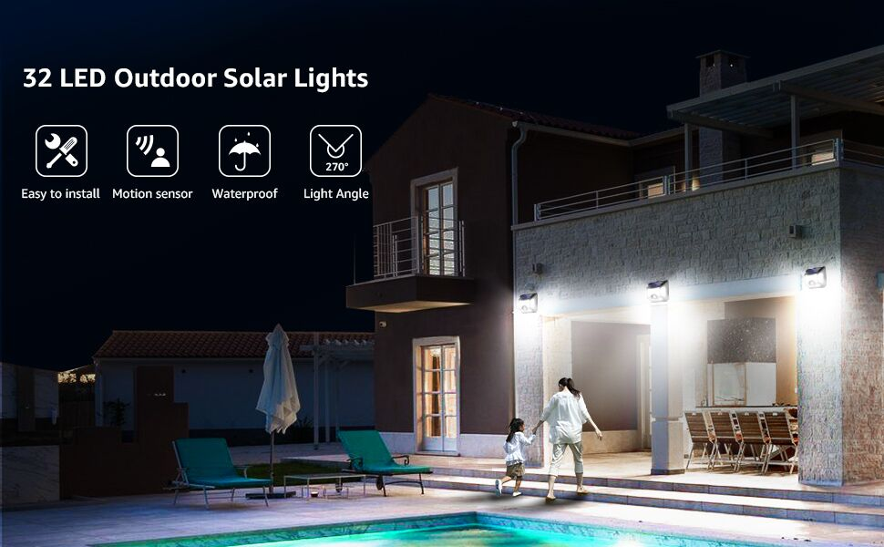 32 LED outdoor solar light