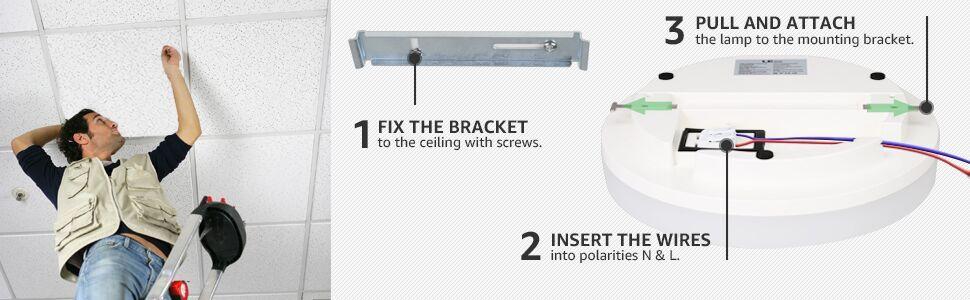 install 24w led flush mount ceiling light