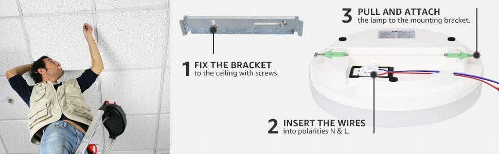 install 24w warm white flush mount ceiling light