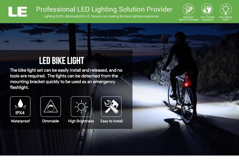 LED Bike Light Set Water Resistant