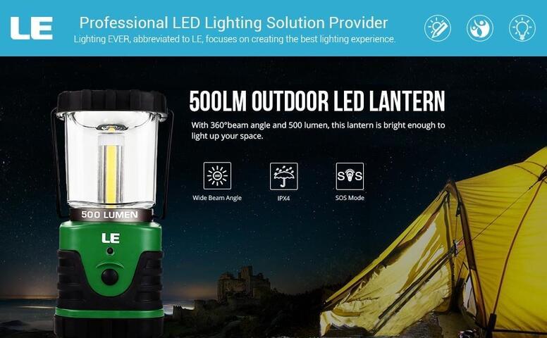 9w battery powered camping lantern