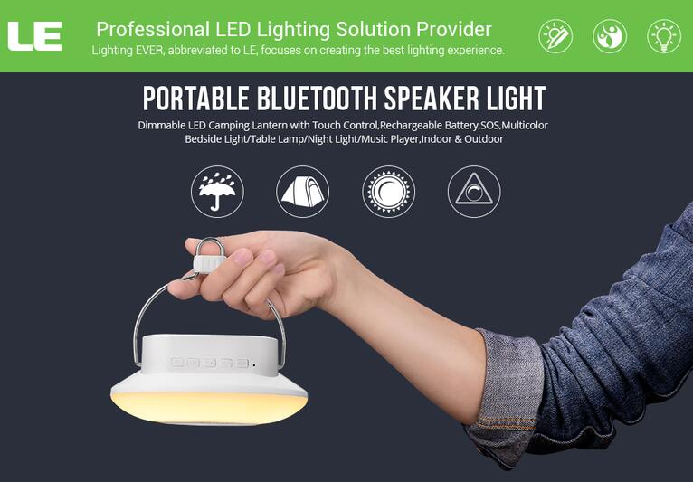 Le Bluetooth Speaker Dimmable Portable Night Light Rgb