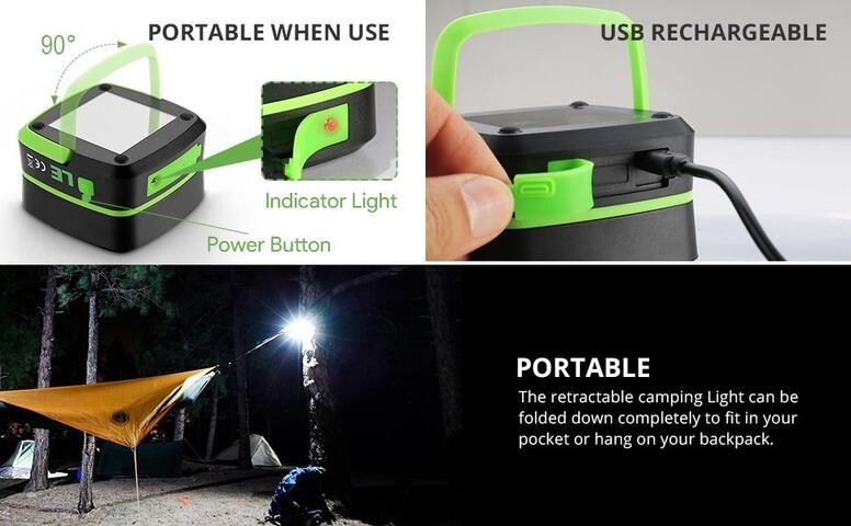 Justech LED Camping Light Rechargeable Lantern Portable USB Camping...