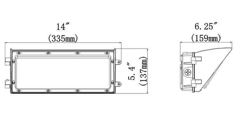 45W 4950lm Semi-cutoff LED Wall Pack